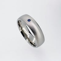 6.00mm wide Blue sapphire wedding band made from Palladium, man wedding ring, modern, sapphire, men palladium wedding, blue ring, matte