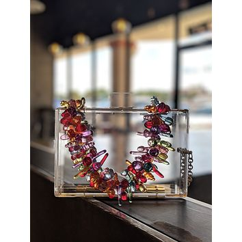 Clear Lucite Bag With Fruit Chain