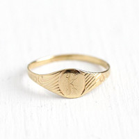 K Signet Ring - Art Deco 10k Rosy Yellow Gold Letter K Baby Band - 1930s Size 3 1/4 Initial Monogrammed Personalized Midi Fine Jewelry