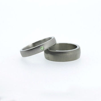 Matching Palladium wedding band set, green Diamond ring, men's wide ring, modern wedding band, simple diamond ring, matte, unique, green