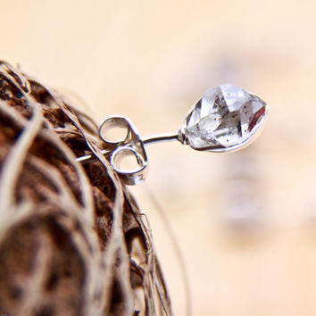 Herkimer diamond earrings - fine art jewelry with hand wrapped quartz crystals in sterling silver