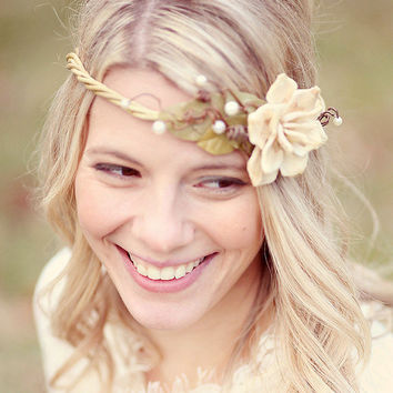 woodland wedding vine crown ivory ribbons no 55 by whichgoose