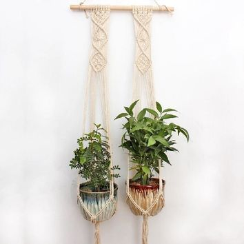 Close Set Double Macrame Plant Hanger