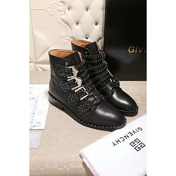 GIVENCHY Autumn Winter Popular Women Leather Shoes Boots Black