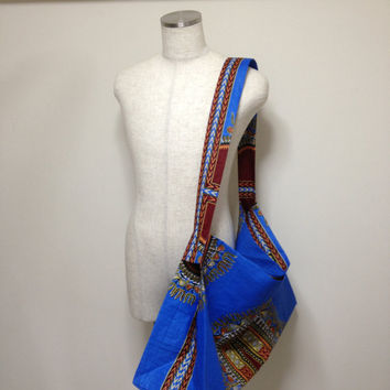 African cotton tote bag with a removable sole plate / large , Ethnic , vivid , colorful , useful , shopping , casual , blue