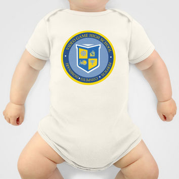 THE CREST of video game high school  Baby Clothes by Studiomarshallarts