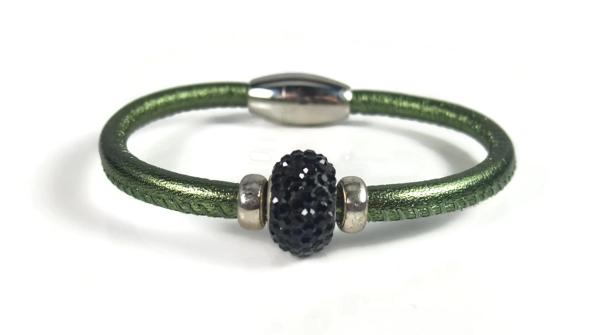 Green Leather Rhinestone Bracelet 7 0 Quot From