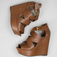 Don't Double Cross Me Wedges in Tan