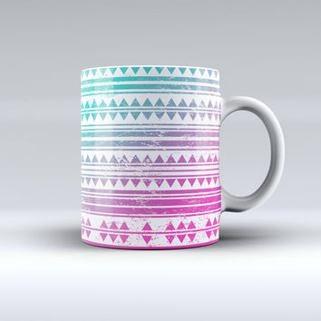 The Pink to Green Gradient Hipster Pattern ink-Fuzed Ceramic Coffee Mug