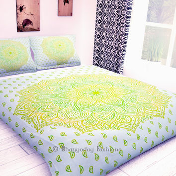 Indian Ombre Mandala Reversible Duvet Cover Comforter Quilt Cover Hippie Tapestries Decor