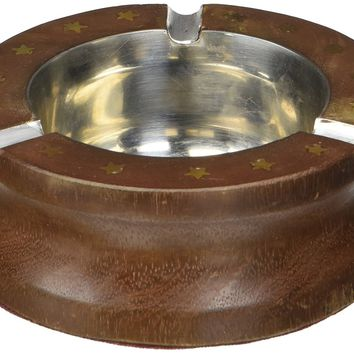 Benzara Handmade Rosewood Round Ashtray With 3 Cigarette Holder Slots, Brown