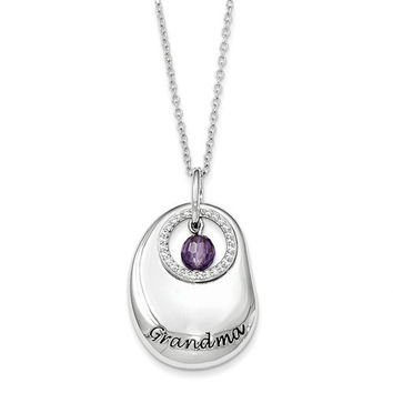 Sterling Silver Antiqued CZ For You Grandma 18in. Necklace