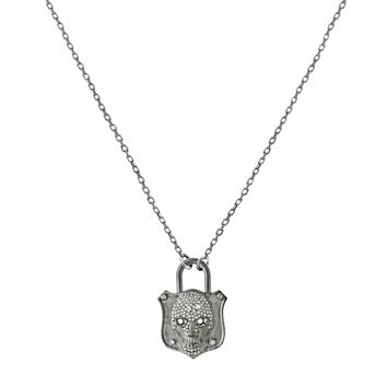 0.53ct Pavé Diamonds in 925 Sterling Silver Medieval Skull Padlock Pendant Necklace