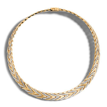 John Hardy Modern Chain Medium 18K Gold Necklace with Diamonds