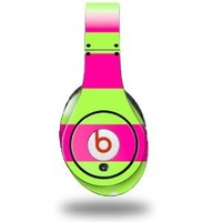 Kearas Psycho Stripes Neon Green and Hot Pink Decal Style Skin (fits ORIGINAL Beats Studio Headphones - HEADPHONES NOT INCLUDED)