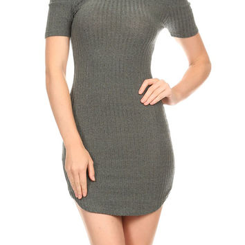 Sexy Clubwear Party Ribbed Knit Off Shoulder Fitted Mini Dres