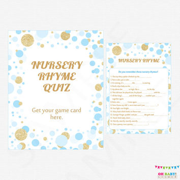 Nursery Rhyme Baby Shower - Nursery Rhyme Quiz + Sign - Boy Baby Shower - Printable Blue and Gold Baby Shower Nursery Game - Boy CB0003-bg