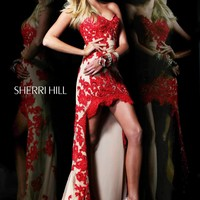 Sherri Hill 21016 Red High Low Dress