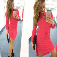 2016 Women Dress Fashion Long Sleeve V Neck MIni Dresses Vestidos Button-up Shirt Dresses Women Asymmetrical Sexy Dress M0483