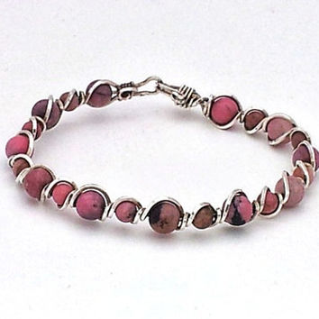 Wire Wrapped Sterling Silver Bangle Bracelet with Pink Rhodonite Stone Beads
