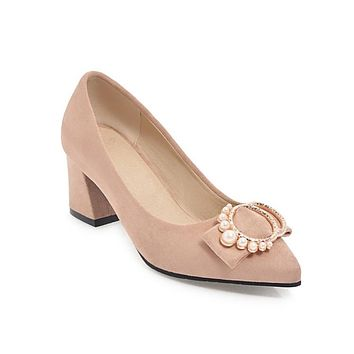 Women's Pearl Bow Wedding Shoes High Heel Chunky Pumps