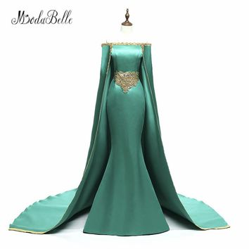 modabelle Saudi Arabia Long Evening Dress Prom 2018 With Cape Hunter Green Golden Beaded Mermaid Formal Dress Party Wear Custom