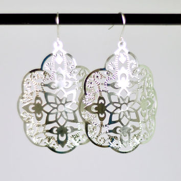 Boho Chic Earrings in Silver with Silver filled Ear Wires - Bohemian Shield Earrings