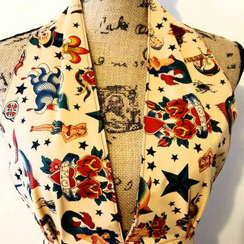"Tattoo - alexander henry - pinup - rockabilly - Retro - vintage - style - ""ellie may"" - halter top"