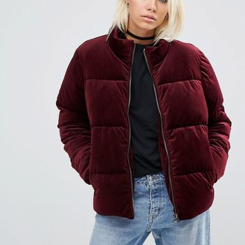 ASOS Velvet Padded Jacket at asos.com