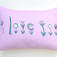 Pink I Love You Flowers Pillow Cover 12 by 16 inch, Decorative Throw Pillow Cover, Cushion Cover, Sham