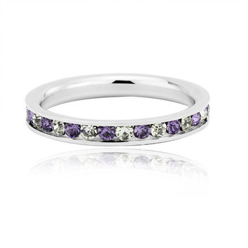 Amethyst and White Sapphire Full Eternity ring - stacking ring - wedding band in white gold or titanium