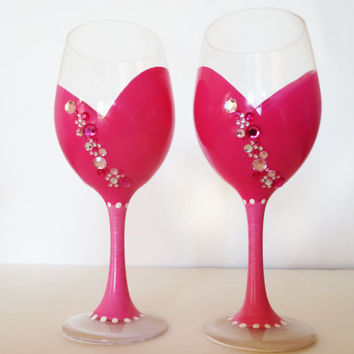 Pretty in pink wine glasses - set of 2 - rhinestones - 20 oz