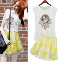 White Art Print Cap Sleeve T-Shirt and Yellow Floral Print Mesh Skater Skirt