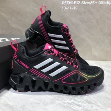 AUGUAU A487 Adidas Terrex High Frequency Breathable TPU Vamp Running Shoes Black Pink
