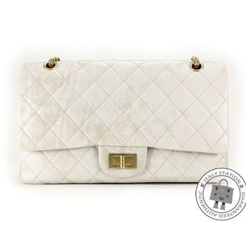 Auth New Chanel Classic 2.55 Large Vintage White Calfskin flap Bag gold hardware
