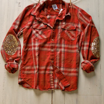 Hipster Flannel Shirt with Sequin Elbow Patch 90s Grunge Plaid Shirt Womens Gift Ideas for Her Teens Women Pinterest Tumblr Shirt