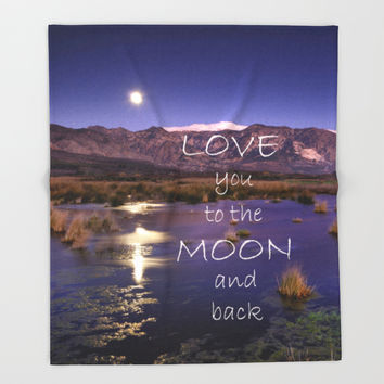Love you to the moon and back.  Valentine's Day Throw Blanket by Guido Montañés
