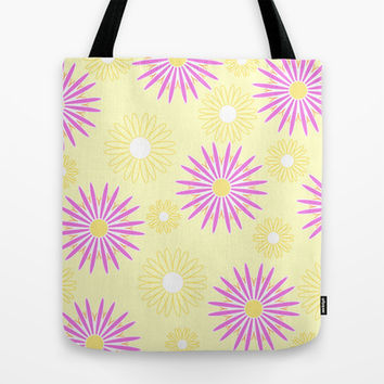 Violet yellow floral pattern Tote Bag by cycreation