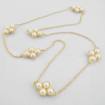 Long Stella and  Dot Style Ivory Cream Pearls and Gold Color Bubble Layering Statement Necklace - Bridesmaids Gifts - Womens Jewelry