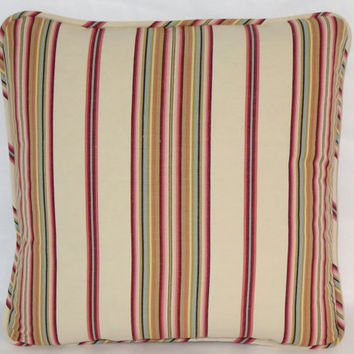 "Colorful Ticking Stripe Throw Pillow Red Pink Aqua Gold Braemore Normandy Woodrose 17"" Square Welted Linen Blend Insert Included Ready Ship"