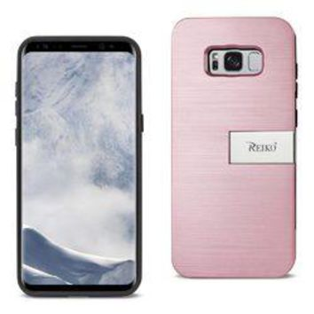 REIKO SAMSUNG GALAXY S8/ SM SLIM ARMOR HYBRID CASE WITH CARD HOLDER AND KICKSTAND IN ROSE GOLD
