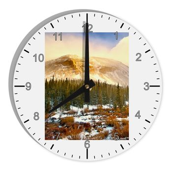 "Nature Photography - Mountain Glow 8"" Round Wall Clock with Numbers by TooLoud"
