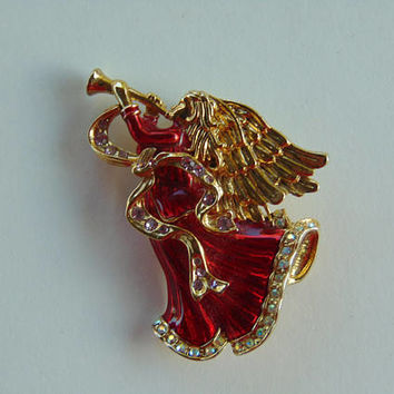 Angel in Red Gown blowing Horn with Gems Brooch Pin Lapel