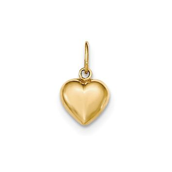 14k Yellow Gold Hollow Puffed Heart Charm or Pendant, 10mm