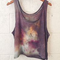 Dark Purple and Orange Tie Dyed Flowy Boxy Crop Medium
