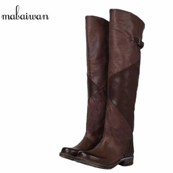Mabaiwan Fashion New Military Cowboy Boots Knee High Women Shoes Genuine Leather Motorcycle Boots Retro Buckle Shoes Woman Flats
