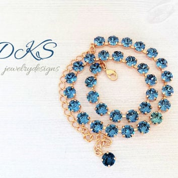 Denim and Rose Gold, Swarovski Necklace, 8MM, Blue, Crystal, Choker, Bridal, DKSJewelrydesigns, FREE SHIPPING