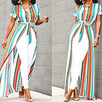 Fashionable Sexy Women's Dresses Striped Open Band Coloured Shirt Dresses