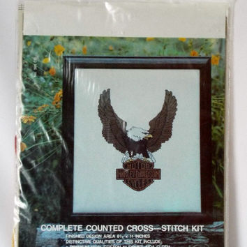 Harley Davidson Counted Cross Stitch Needlework Kit Motorcycles Eagle New