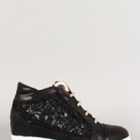 Women's Leatherette Lace Metal Accents Wedge Sneaker